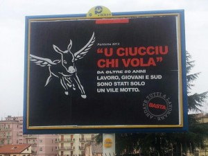 Una particolare locandina elettorale apparsa per le strade di Vibo Valentia